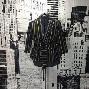 ELOQUII striped one button blazer w/ matching belt